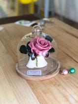 Urna de cristal decorada con rosa y  flor preservada