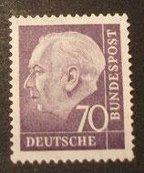 Bund 0263xv 70 Pf Heuss II
