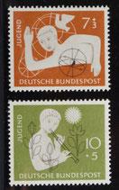 Bund 0232f Jugendmarken 1956  Zuschlagsmarken (2 Werte)