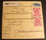 BD 0137  80 Pf Posthorn sP auf Paketkartenabschnitt MiF