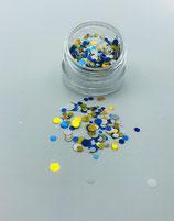 059001 Dotties | Confetti 2,7 cm (goud, blauw, wit )