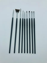 056004 Set Nail art Penselen Zwart 9 stuks | etui