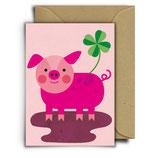 """Postkarte / Klappkarte """"Schwein"""" mit Umschlag"""
