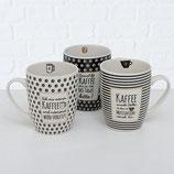 Tasse mit Hänkel und Kaffe Spruch