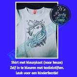 T-shirt wit met kleurplaat naar keuze