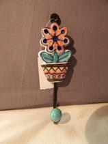 handgemachter Kleiderhacken, Blume in Topf