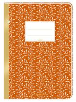 Notizheft (orange) mit Goldrand