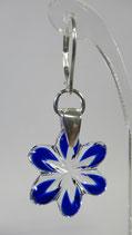 """BO 124 - BOUCLES CRISTAL """"fleur étoilées"""" bleues"""