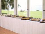 Vermietung Verleih Skirting Tischrock Tischumrandung in weiß