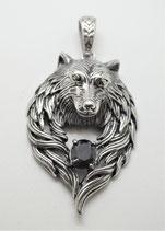 Wolf mit schwarzem Stein gross