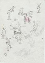 Devos, Jacques – Meester Kweeniewa en Geniale Olivier, vloeiblad met originele schetsen