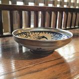 銀彩鳥小花 13cm浅鉢