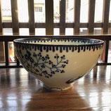 銀彩鳥小花 18.5cm深鉢