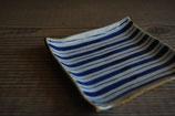 縞紋 4.5寸正角皿