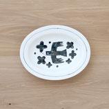 黒鳥楕円皿(大)