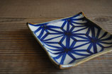 麻の葉紋 4.5寸正角皿