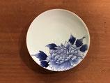 渕金染付青磁牡丹 小皿 (10cm×h1.5cm)