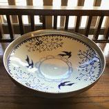 銀彩鳥小花 21.8cm浅鉢