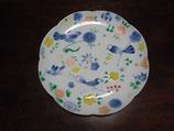 鳥小花紋 22㎝花型皿