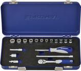 Steckschlüsselsatz 18-teilig 1/4 Zoll SW 4-14mm Anzahl Zähne 20 6-Kant PROMAT