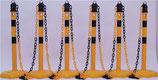 Sperrpfostenset PU gelb/schwarz mit Sechskantfuß D63xH1000mm 6 Pfosten und 5 Ketten