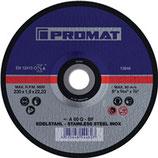 Trennscheibe INOX D115-230x1-1,9mm gerade INOX Bohrung 22,23 mm PROMAT