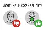 Aufkleber Achtung Maskenpflicht! versch. Ausführungen