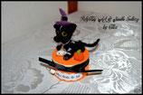 """Boîte à dents chat petit sorcier style """"Halloween"""""""