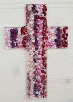 Glaskreuz FARBVERLAUF lila-pink-weiß-rot-fuchsie