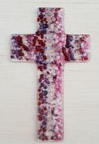 Glaskreuz FARBVERLAUF pink-lila-rot-fuchsie-weiß