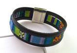 Bracelet cuir ethnique noir bleu
