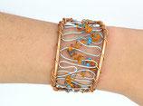 Bracelet manchette en fil aluminium marron clair