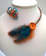 Collier plume turquoise et orange
