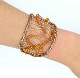Bracelet manchette en fil aluminium marron