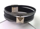 Bracelet cuir noir et vieil argent