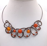 Collier perles ton orange