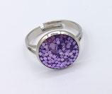 Bague réglable résine paillette violet
