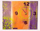 Horloge tons orange-violet