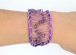Bracelet manchette en fil aluminium lilas