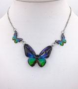 Pendentif 3 papillons bleu vert - inox