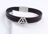 Bracelet cuir marron triangles