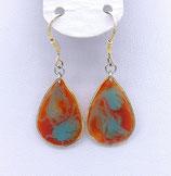 Boucles d'oreilles effet vitrail orange-bleu