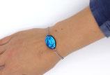 Bracelet en résine brillant reflet bleu