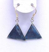 Boucles d'oreilles effet vitrail bleu
