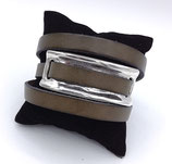 Bracelet triple tour cuir kaki