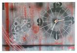 Horloge noir, rouge, gris