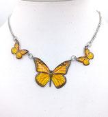 Pendentif 3 papillons jaune - chaine inox