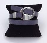 Bracelet réglable cuir gris
