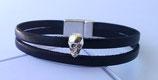 Bracelet cuir noir et tête de mort