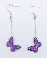 Boucles d'oreilles papillon violet